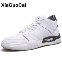 Autumn Winter White Men Casual Shoes Breathable Leather High Top Man Shoes Fashion Trend Male Sneake