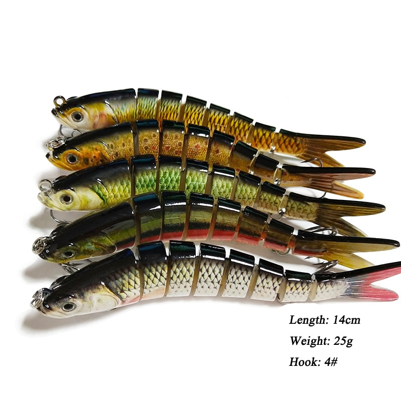 8 señuelo de pesca de sección 14cm 25g, señuelos articulados múltiples, cebo, Lucio, hundimiento, Wobblers Swimbait, aparejo de pesca para Bass Isca Crankbait