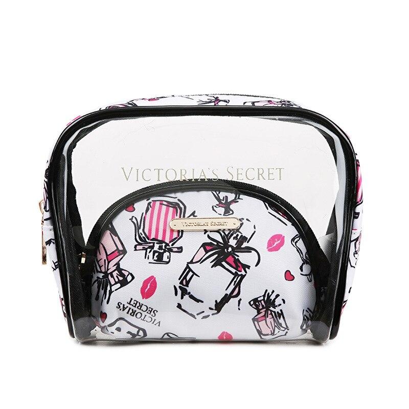 2021 woman bags PVC Transparent Cosmetics Bag 3 Piece Outdoor Travel Washing Bag makeup bags organizer victoria lipstick bag