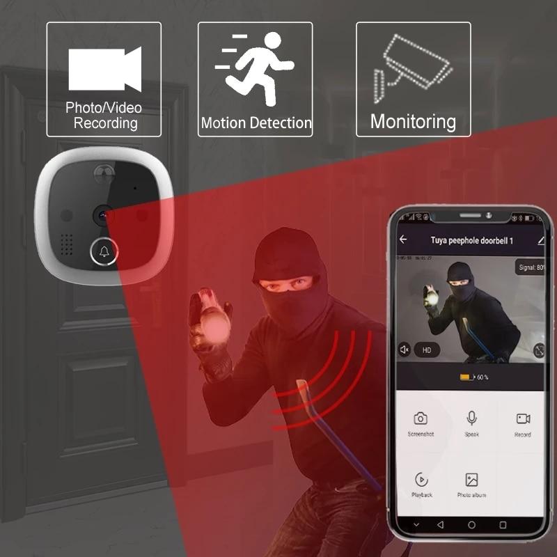 Tuya Peephole Video Door Viewer Digital Peephole Smart Viewing Eye Support Tuya App Control PIR enlarge