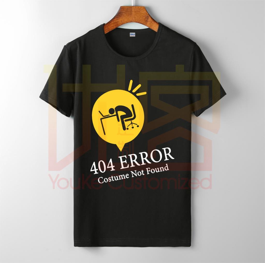 Error 404 disfraz no encontrado divertida camisa de halloween venta caliente de los hombres 100% de algodón personalizado impreso de alta calidad camiseta unisex de marca