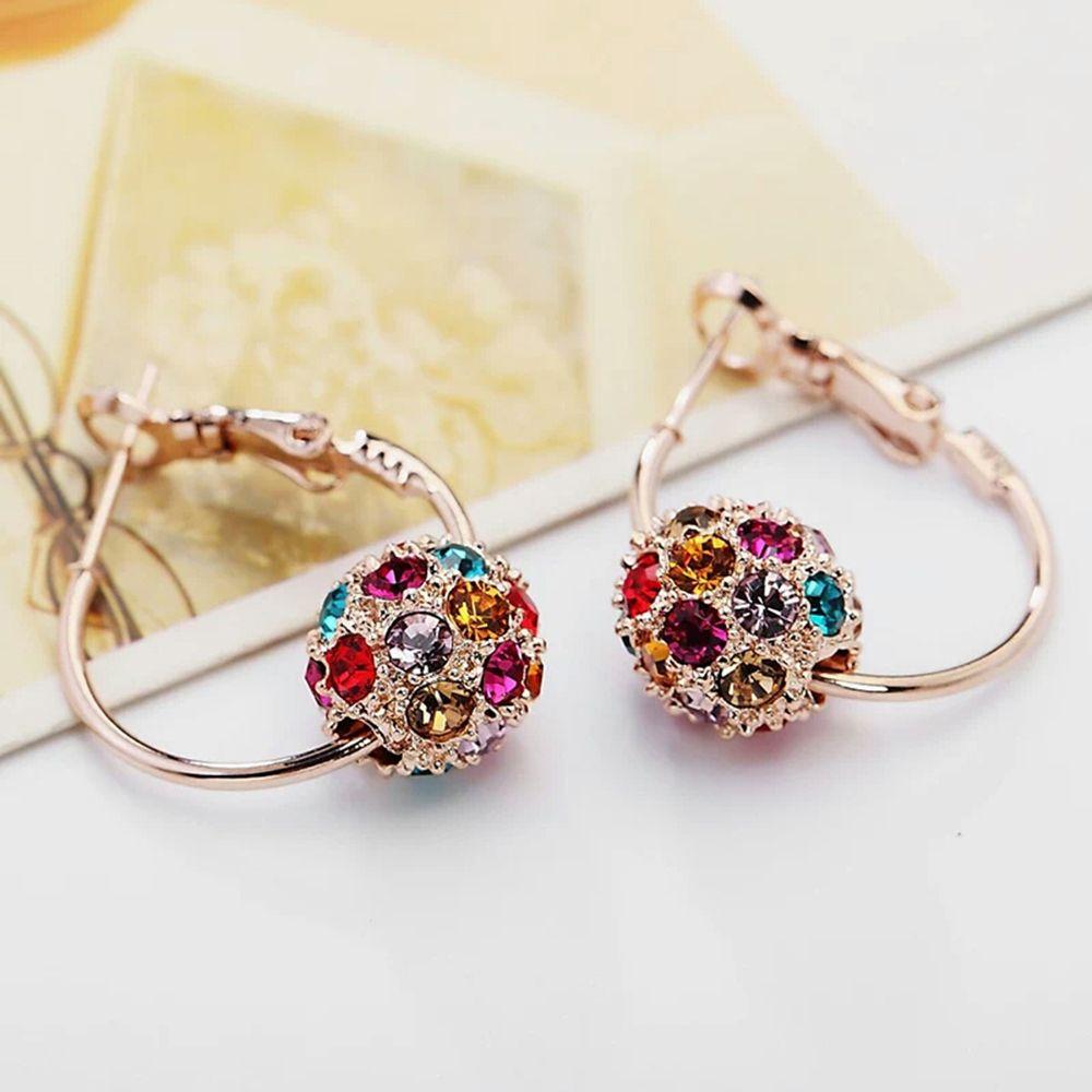 1 par de pendientes de bola de cristal austriaco de moda de nuevo diseño, pendientes de alta calidad para mujer, fiesta, boda, joyería, regalo para mujer