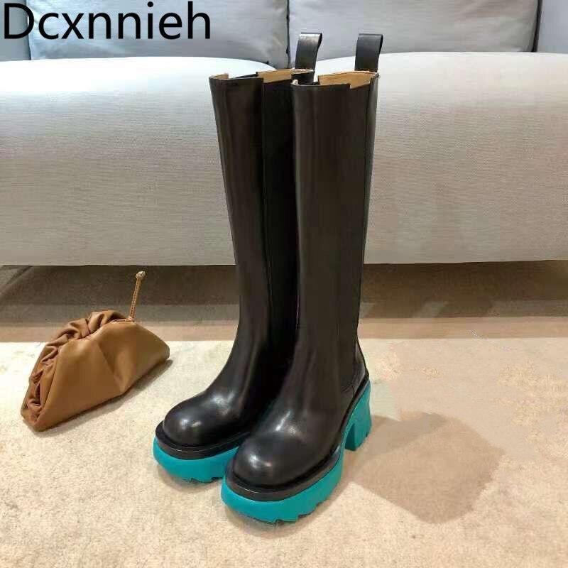 جديد النساء حذاء من الجلد سميكة وحيد كعب عال مكتنز تشيلسي الأحذية السيدات الانزلاق على الجوارب طويلة أحذية جولة تو 2021 الخريف 7 سنتيمتر