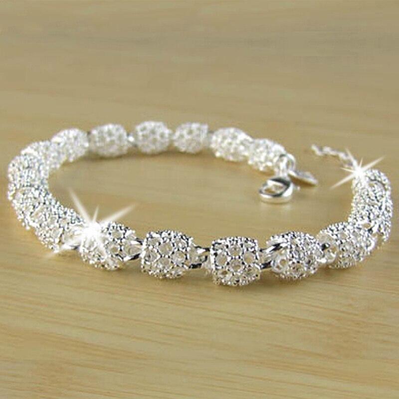 Новый серебряный цвет, ювелирные изделия, полый браслет из бисера, модный браслет для женщин, Кристальные браслеты, браслет для подарка на Р...