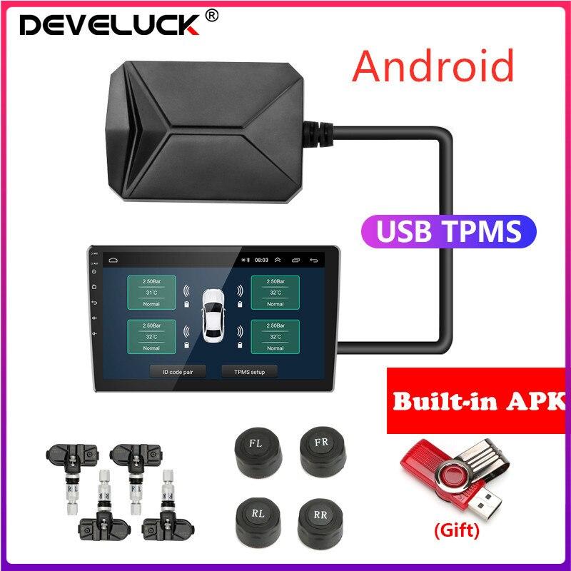 Sistema De Supervisión De Presión De Neumáticos Usb Android Tpms 5v Externo Para Navegación Android Radio De Coche Sistema De Alarma Tpms Alarma De Presión De Neumático Aliexpress