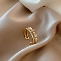 luxury zircon gold double student opening rings for woman 2021 new fashion gothic finger jewelry wedding party girls sexy ring