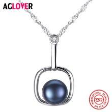 AGLOVER nouveau 925 argent eau-vague chaîne collier de perles naturel deau douce perle pendentif carré collier perle bijoux femmes cadeau