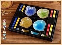 Baguettes en céramique plats à Sushi   Ensemble de vaisselle de Style japonais, plats à sauce soja, Sashimi en boîte-cadeau (12 pièces/ensemble)