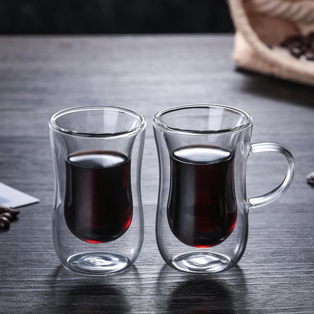 80ML caliente doble capa de la pared taza de té de cristal de café tazas aisladas tazas de Espresso vino cerveza copa de vidrio resistente al calor