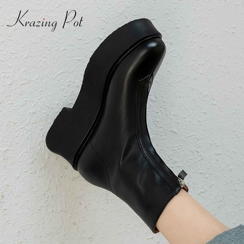 Krazen Pot-حذاء من الجلد الطبيعي بكعب عالٍ وسحاب بنعل سميك ، حذاء من الجلد الطبيعي ، سوبر ستار ، L06
