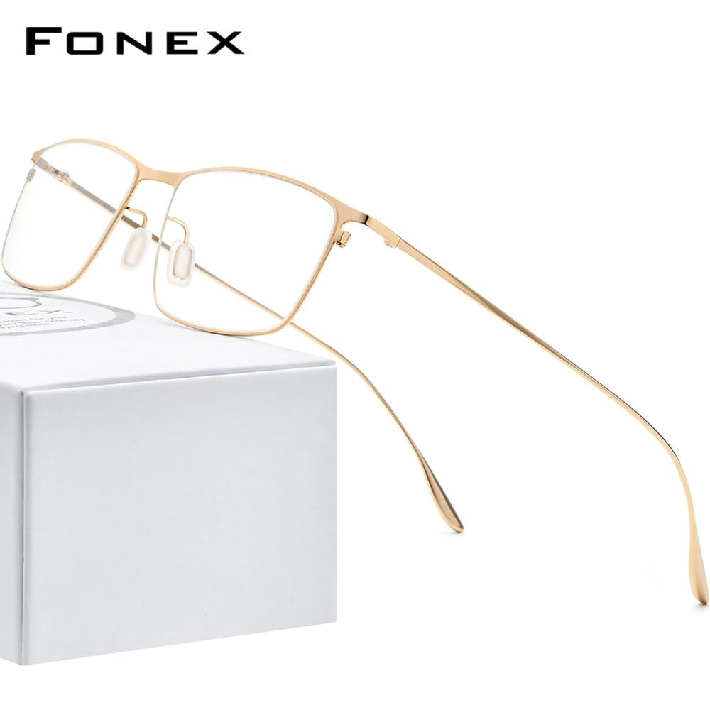 فونيكس سبائك التيتانيوم نظارات الرجال مربع قصر النظر وصفة النظارات إطارات 2020 جديد كامل البصرية الكورية نظارات FONEX 8105