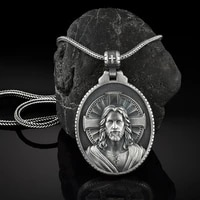 christian jesus mens chain necklace catholic cross religious accessories jewelry on the neck medal pendant necklaces for man