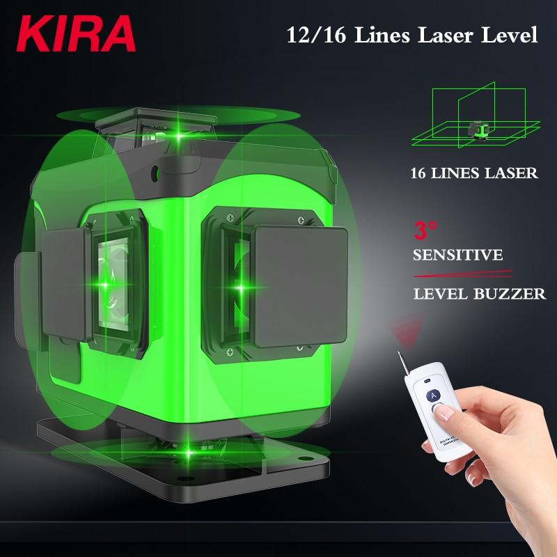 KIRA 16 Lines 4D Laser Level green line Self-Leveling 360 Horizontal And Vertical Super Powerful Laser level green Beam laser le leter 12lines 3d laser level 360 laser electronic leveling laser beam line