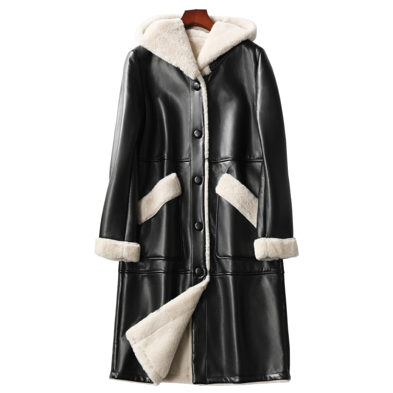 Autumn Women Fur Leather Jacket Winter Plus Size 4XL Fashion Warm Thick Plus Velvet Fur Leather Long Coat Women Luxury Jacket enlarge