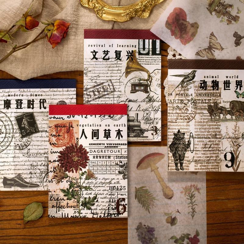 retro-era-serie-diario-di-adesivi-decorativi-libro-scrapbooking-etichetta-bastone-diario-di-cancelleria-album-di-foto-d'epoca-di-pianta-adesivi-animali