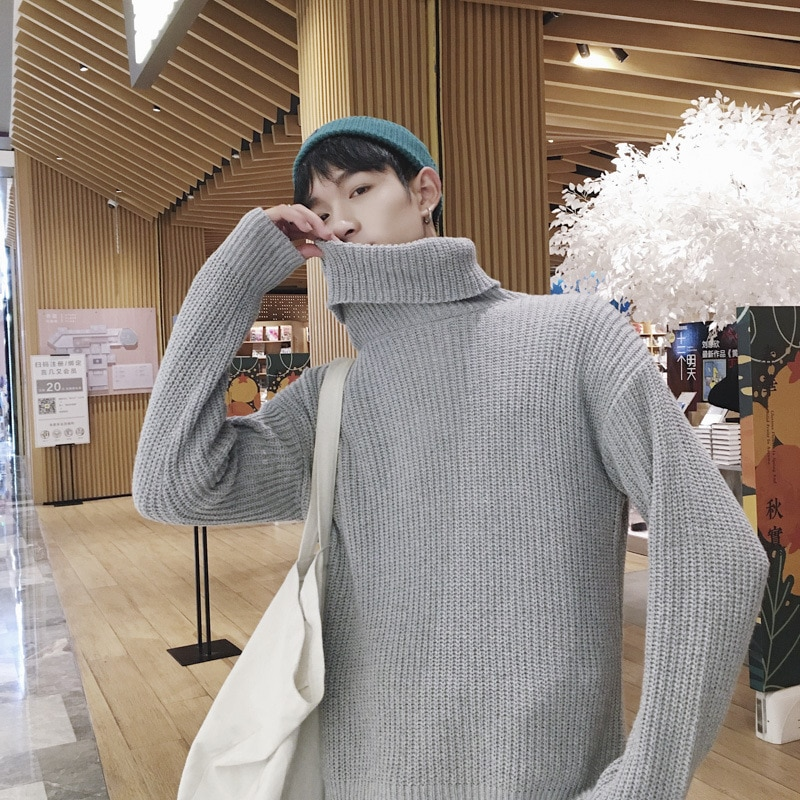 2020 New Knit Sweaters Korea Men'S Turtleneck Long Sleeves Autumn Winter Pullover Knitted O-Neck Plus OverSize Sweater Men mens sweaters new classic simplicity pullover o neck sweater men long sleeves grey black teenagers sweaters