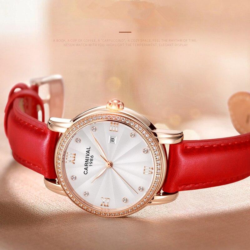 CARNIVAL Brand Women Fashion Rose Gold Automatic Watch Ladies Waterproof Luxury Luminous Mechanical Wristwatch Relogio Feminino enlarge