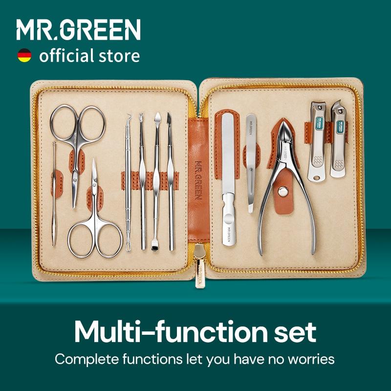 مجموعة مانيكير احترافية كاملة 12 في 1 من MR.GREEN ، مجموعة باديكير من الفولاذ المقاوم للصدأ ، مع حقيبة جلدية محمولة ، فكرة هدية