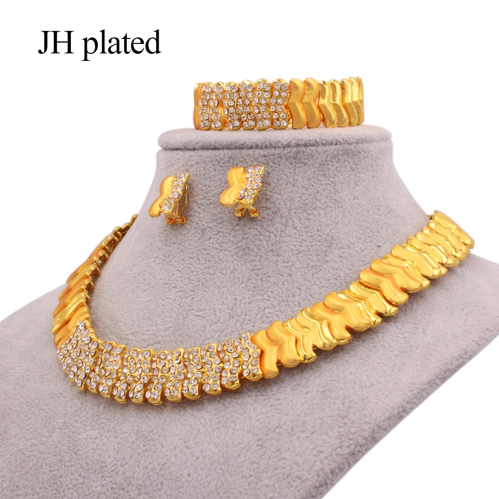 Conjuntos de jóias dubai 24k ouro cor africano nupcial presentes de casamento para mulheres colar pulseira brincos anel colares conjunto de jóias