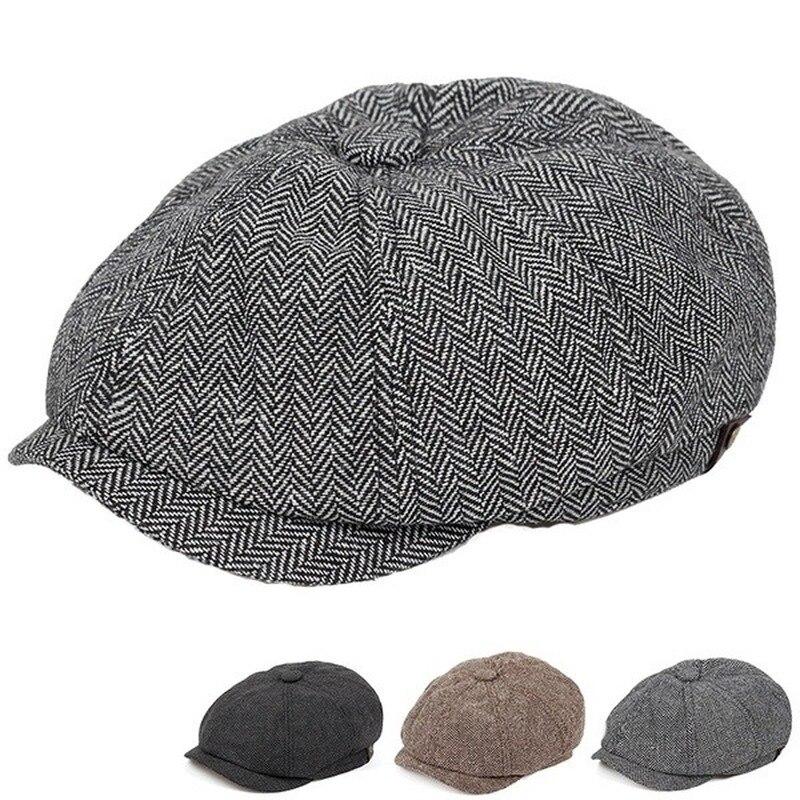 Mens Flat Top Hat Ivy Gatsby Driving Cap Autumn Winter Fashion Newsboy Hat Octagonal Hats for men