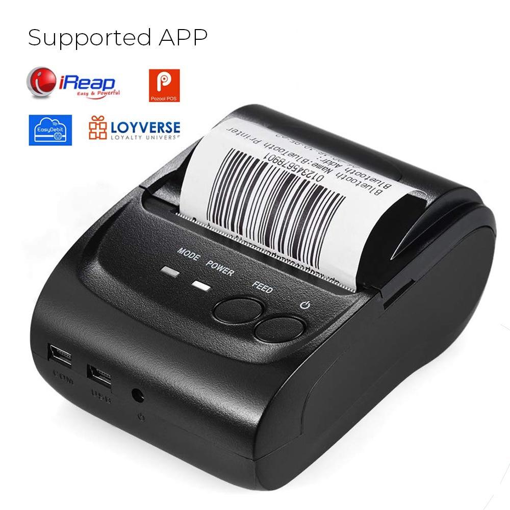 Mini impresora Bluetooth, impresora térmica, recibos de tickets, USB, portátil, inalámbrica para impresora Android IOS y Windows 58mm