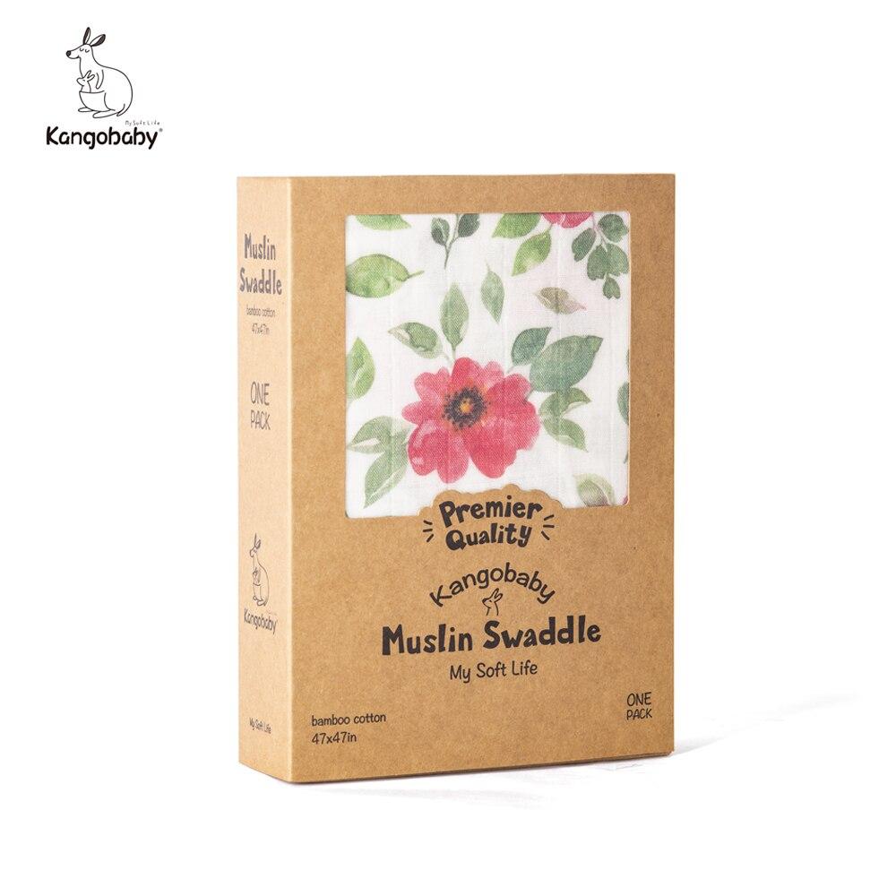Kangobaby 2-Layer الخيزران القطن الشاش قماط تلقي بطانية هدايا حديثي الولادة ديكور ملحق