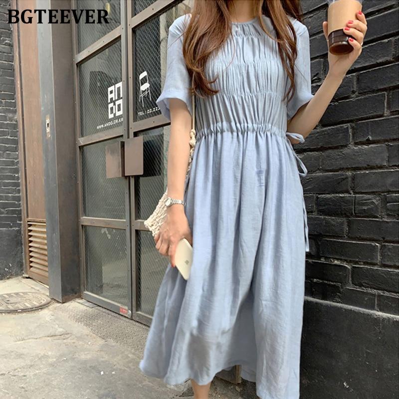 BGTEEVER Elegant Ruched Lace Up Women A-line Dress Summer Casual Short Sleeve Female Dress 2020 Blue Midi Party Vestidos femme