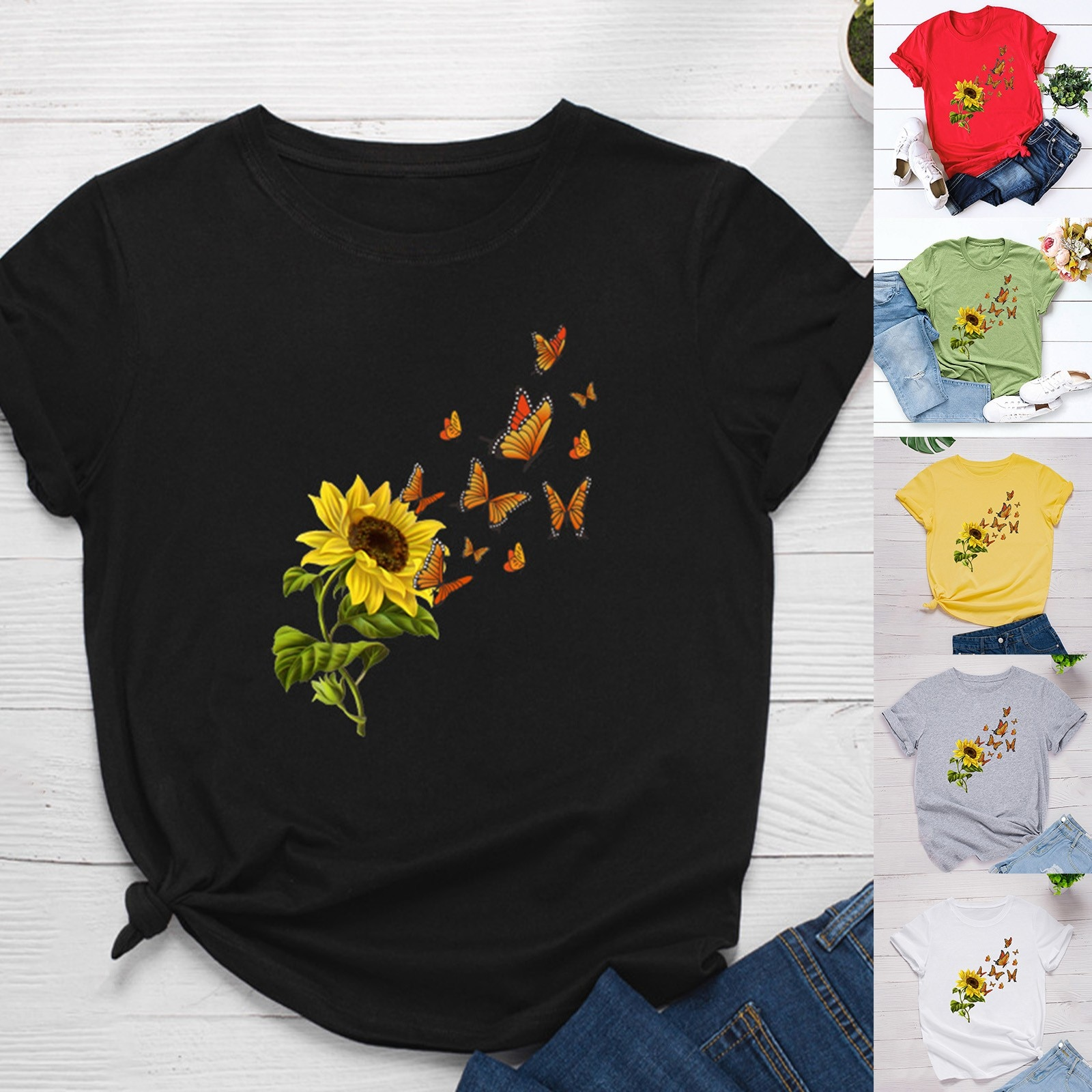 Camiseta de manga corta con estampado de mariposa para mujer, Tops con...
