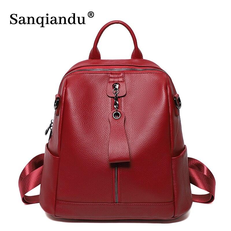 100% لينة حقيقية حقيبة ظهر مصنوعة من الجلد المرأة حقيبة ظهر أنيقة عالية الجودة السيدات اليومية حقائب السفر عادية حقيبة مدرسية Grils