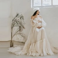 trendy women maternity dress to celebrity party pretty lush sleeves a line prom gowns for photography maternity dresses beige
