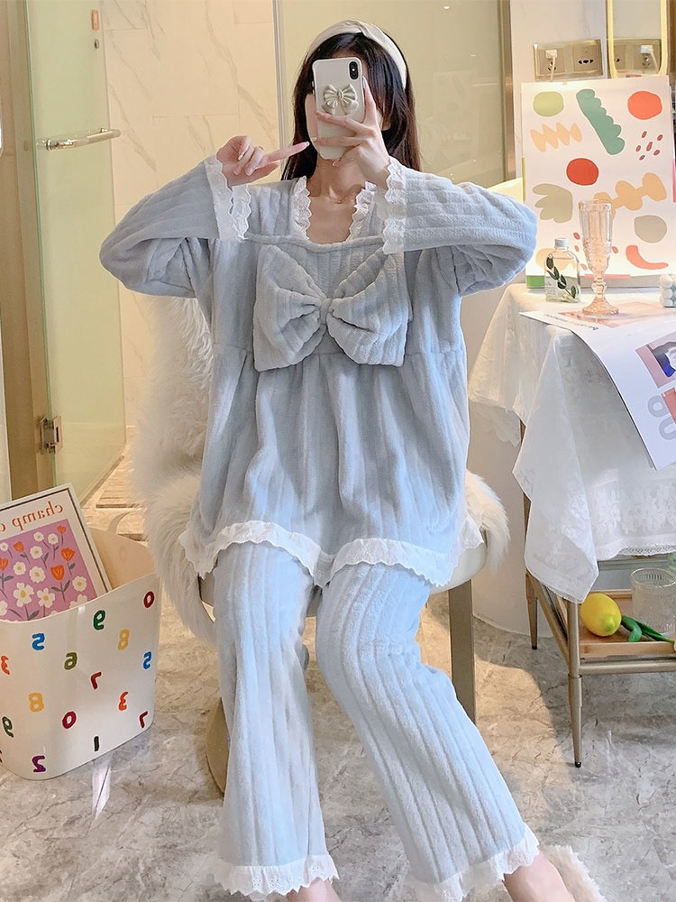 Coral Velvet Pajamas Women's Spring and Autumn Winter Thickened Warm, Sweet and Lovely Flannel Home