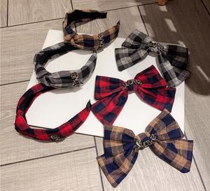 winter new lattice bow top clip simple temperament love letter knotted wear hairbands
