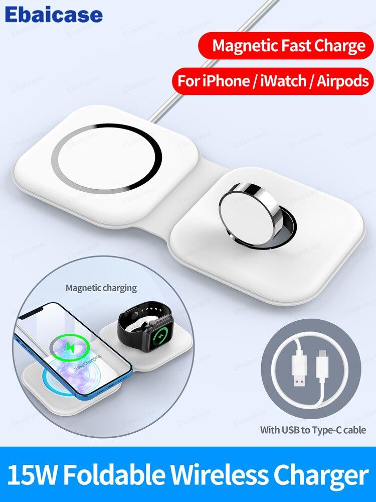 Ebaicase-شاحن لاسلكي مغناطيسي لجهاز iPhone 12 Pro Max 12 ، شاحن سريع صغير لـ Apple AirPods iWatch 15W