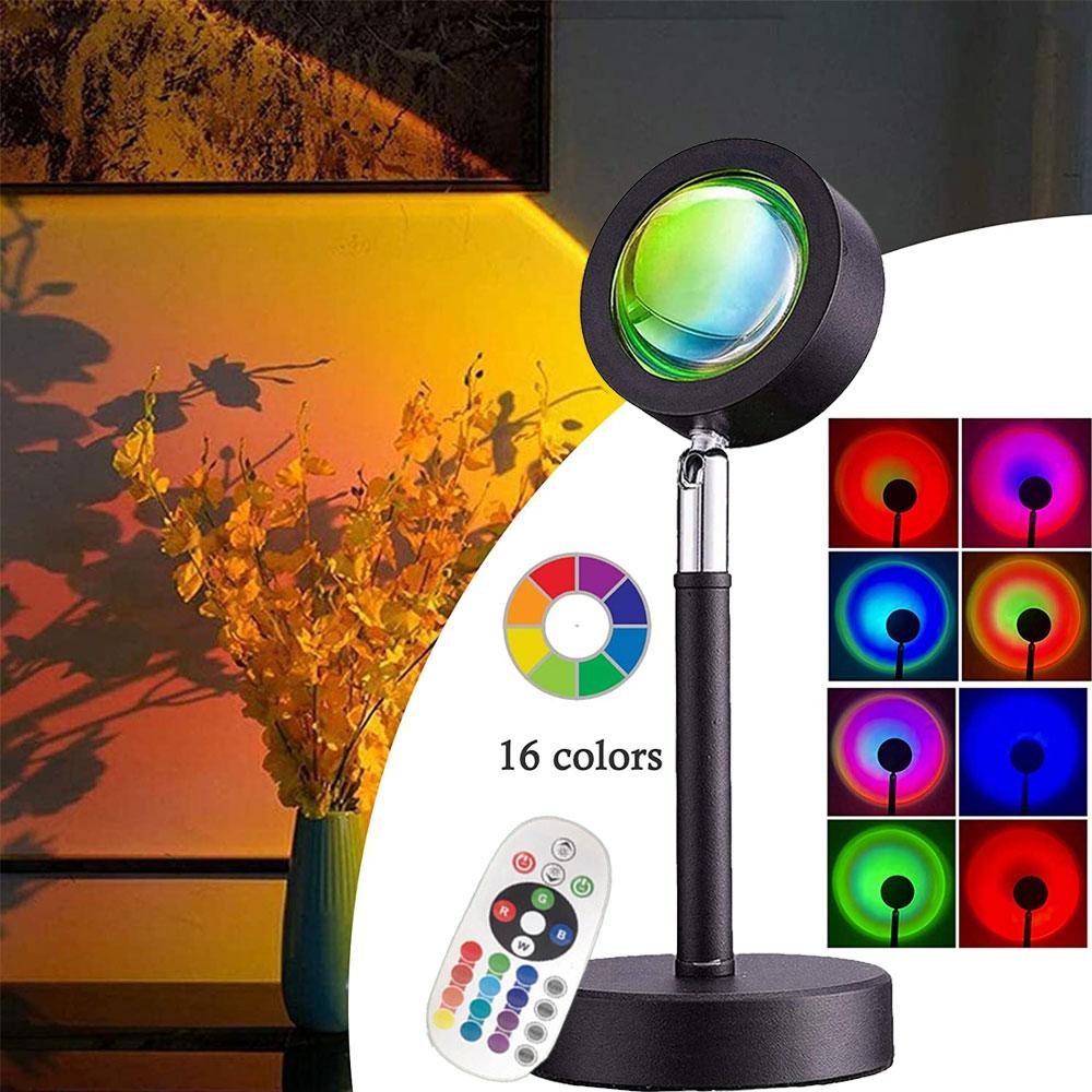 مصباح غروب الشمس العارض 16 ألوان RGB مع جهاز التحكم عن بعد متعددة الألوان Led ضوء الليل وسائط مختلفة للحزب غرفة بار ديكور