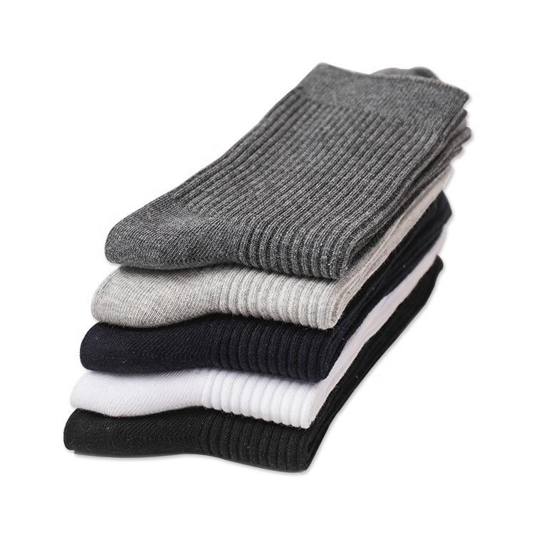 Осенние мужские однотонные носки из 100% хлопка с двойными иглами в Вертикальную Полоску оптом зимние носки
