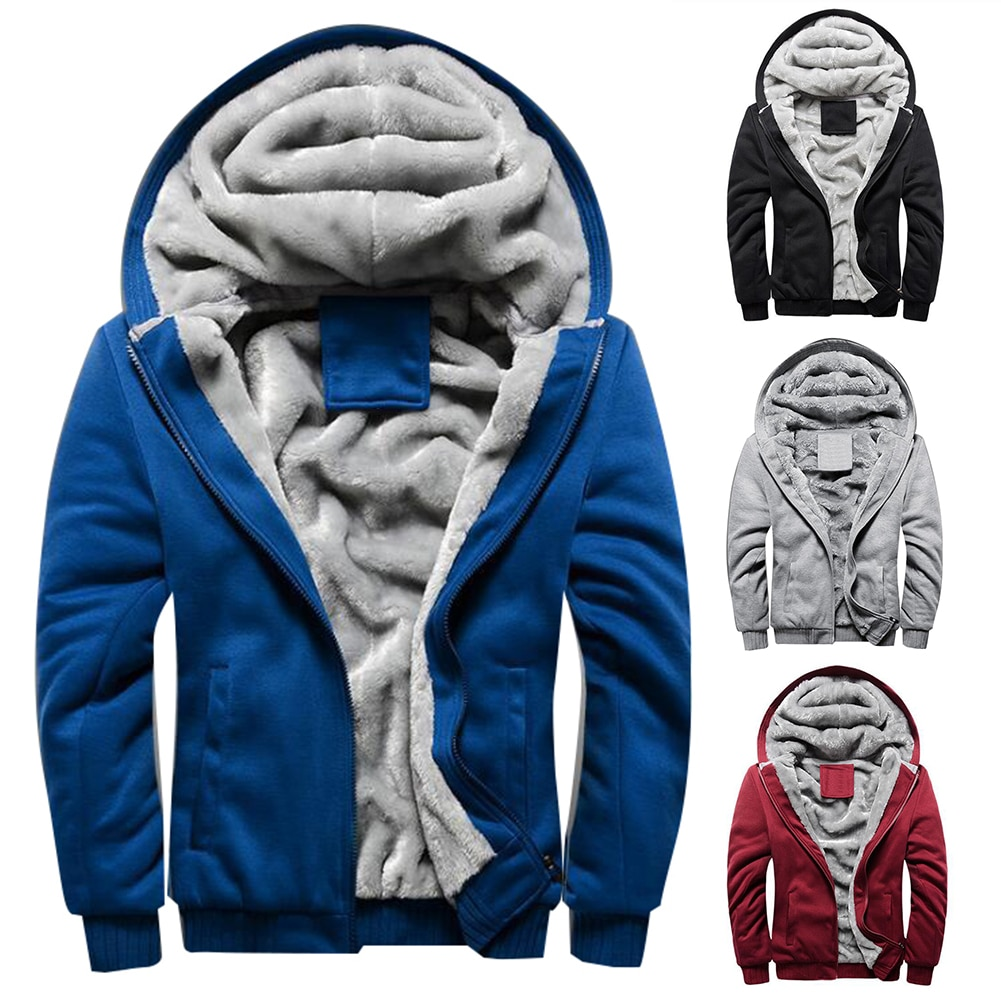 2021 New Men Hoodies Winter Thick Warm Fleece Zipper Men Hoodies Coat Sportwear Male Streetwear Hood