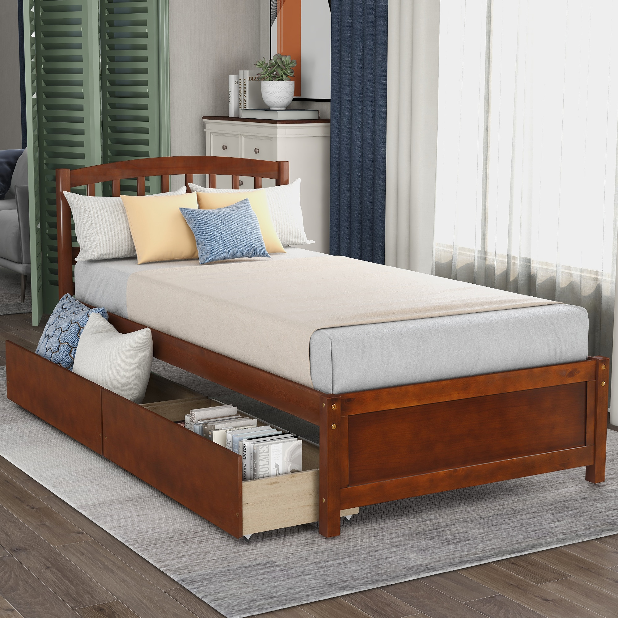 Twin Размеры Каркас кровати с изголовьем кровати мебель для спальни на платформе постели хранения деревянный каркас кровати с двумя ящиками ...