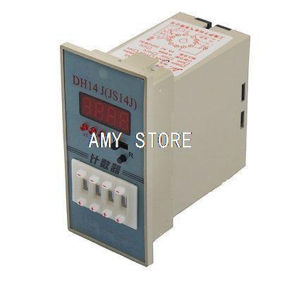 AC 220V 11 Pin 1NO 1NC Counter Programmable Counter Relay 1-9999(x1/ x10/x100) DH14J Digital Display 5A Resistive Load 50/60Hz