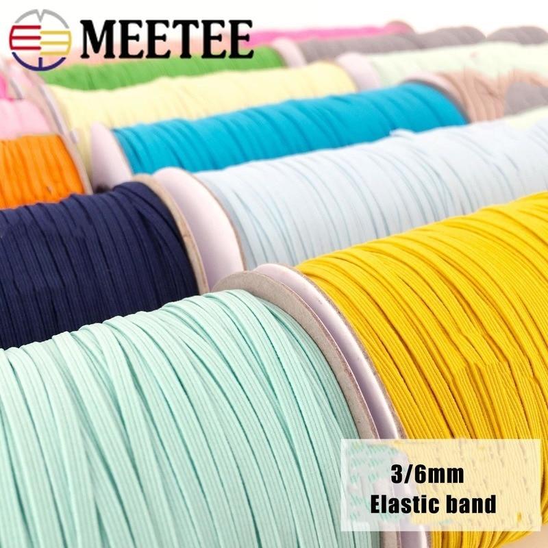 Meetee 10 metros 3/6mm bandas elásticas corda de borracha fita de cabelo fitas de costura correias de cintura sapatos cinto diy acessórios de vestuário