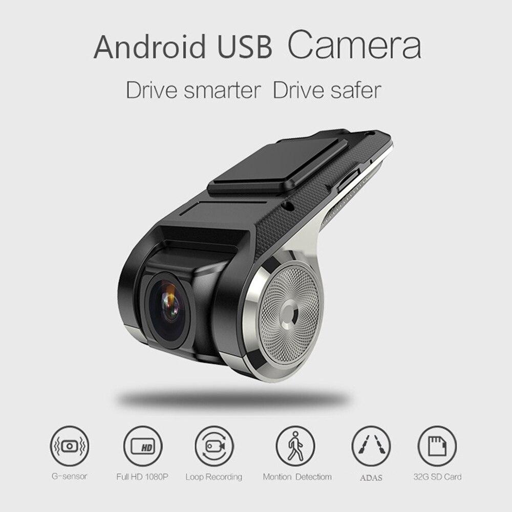 1080P HD navegación oculta grabadora U2 USB coche Cámara DVR 170 ° ADAS Dash Cam Monitor soporte TF tarjeta g-sensor Mini Coche DVRs