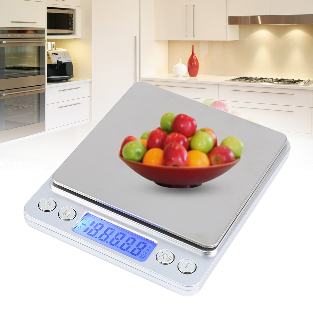 6.61LB / 3000g Kitchen Scale LCD Screen Electronic Digital Food Scale Stainless Steel Platform High Precision Measuring Tools