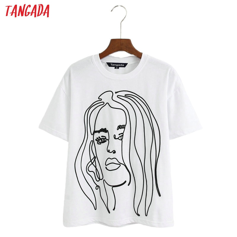 Tangada women embroidery cotton 2020 T shirt short sleeve European style ladies casual tee shirt street wear top 6Z47