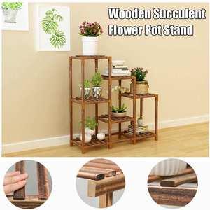 5 Tiers Wooden Plant Stand Balcony Garden Flower Plant Stand Display Shelf Yard Garden Patio Balcony Flower Stands