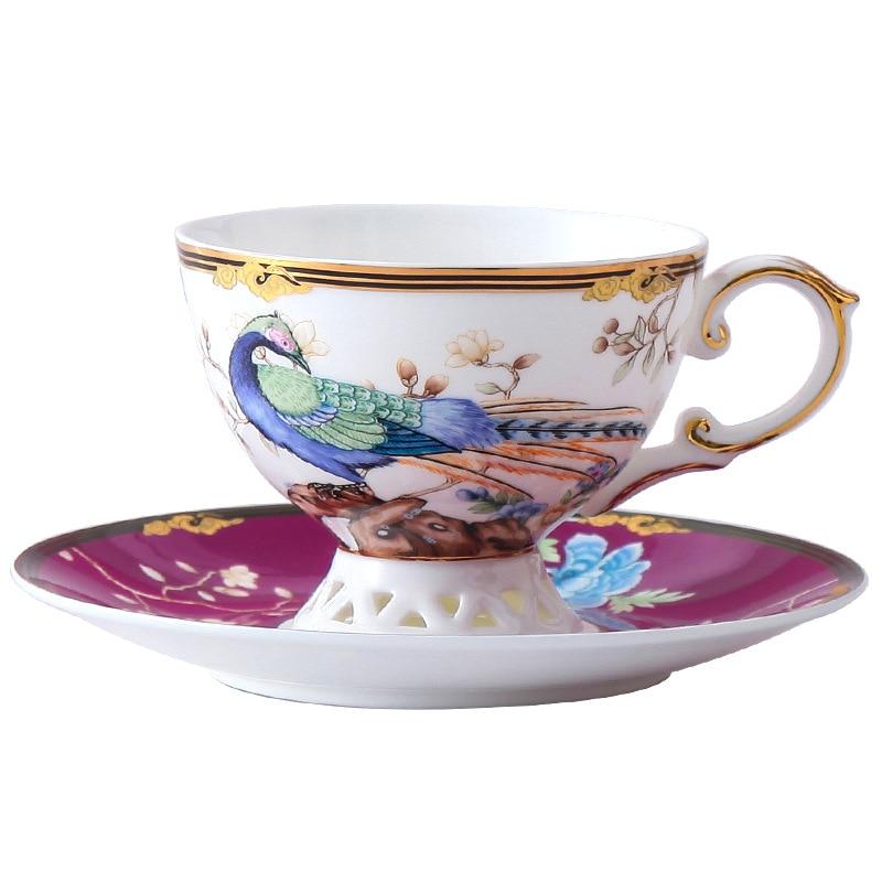 Copo de café de luxo do vintage com pires arte eco amigável cerâmica conjunto copo de café criativo tazza colazione família drinkware bw50bd