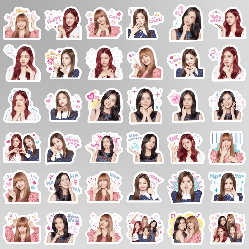 40 unids/set kawaii BLACKPINK sticker KPOP coreano alrededor de pegatinas regalo pvc pegatinas paquete pegatinas juguetes para niños fans de niñas