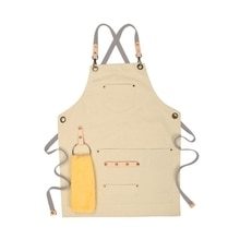 Chef Apron Cotton Canvas Cross Back Adjustable Apron with Pockets for Women and Men, Kitchen Cooking