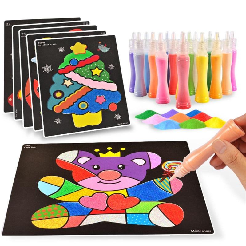 Наждачная бумага, песок для детей, игрушки для рисования, Детская мультяшная песчаная живопись для детского сада, творчество, Рождественски...