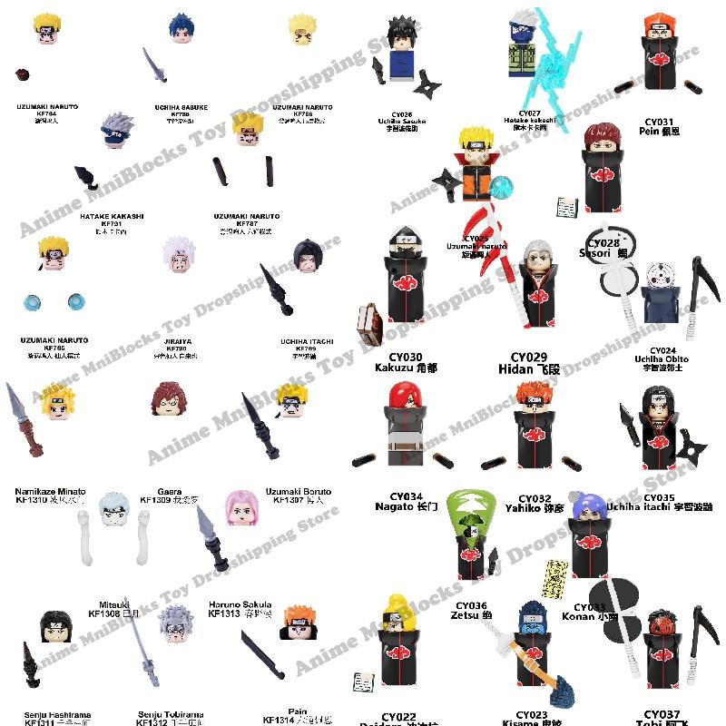 Конструктор Наруто Саске Какаси Акацуки, аниме Мультяшные мини-фигурки, головки в сборе, игрушки для детей, подарок на день рождения