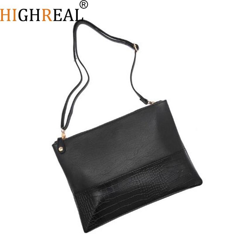 Men Leather Day Clutch Envelope Hand Bag Alligator Patchwork Business Male Bags Vintage Soft Large Office Wallet For Phone