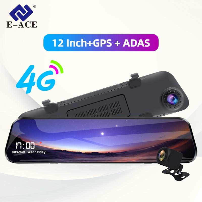 E-ACE Dvr para coche 12 pulgadas Streaming espejo retrovisor 4G Android GPS navegación cámara de salpicadero FHD 1080P registrador de vídeo automático